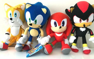 Frowning Plush Toy Sonic The Hedgehog Shadow 8 Inch